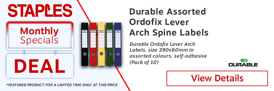 Durable Ordofix Self-Adhesive File Spine Label, 60mm, Assorted, (Pack of 10) <TAG>ONLY</TAG>