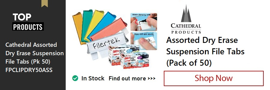 Cathedral Assorted Dry Erase Suspension File Tabs <TAG>ONLY</TAG>