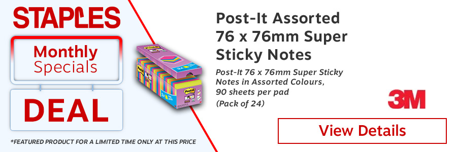 Post-it Super Sticky 76x76mm Assorted (Pack of 24) <TAG>ONLY</TAG>