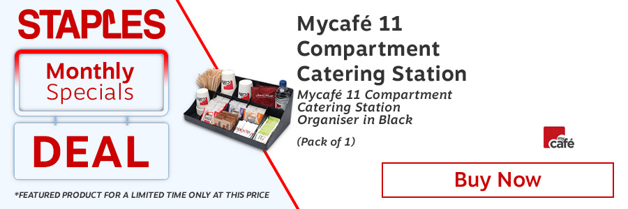 Mycafe Catering Station 11 Compartment C905. 11 Compartment organizer. Displays a wide range of condiments. Rubber grippers to the base. Colour: Black.<TAG>Only</TAG>
