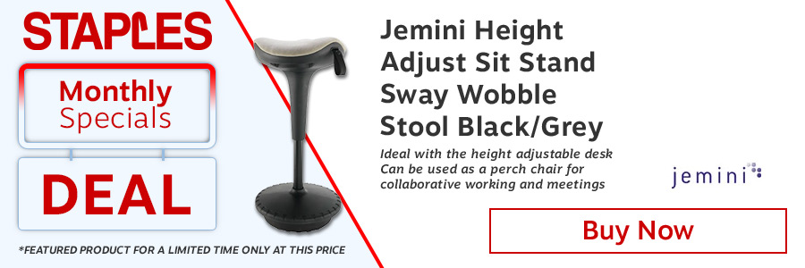 Jemini Height Adjustable Sit Stand Wobble Stool Black/Grey <TAG>ONLY</TAG>