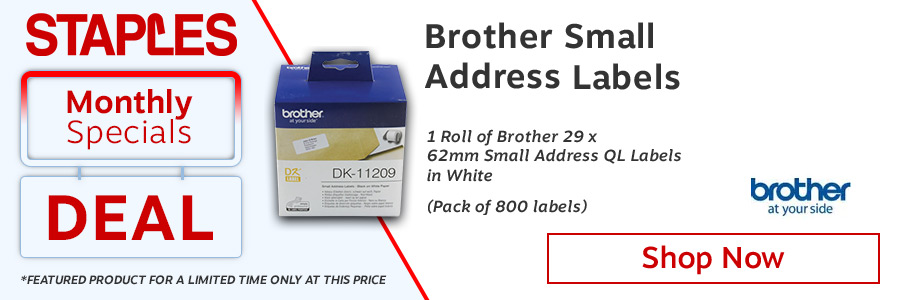 Brother Black on White Paper Small Address Labels (Pack of 800) <TAG>ONLY</TAG>