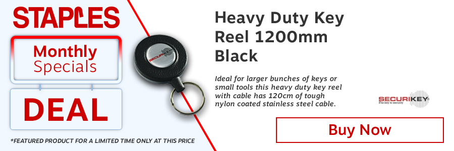 Heavy Duty Key Reel 1200mm Black <TAG>ONLY</TAG>