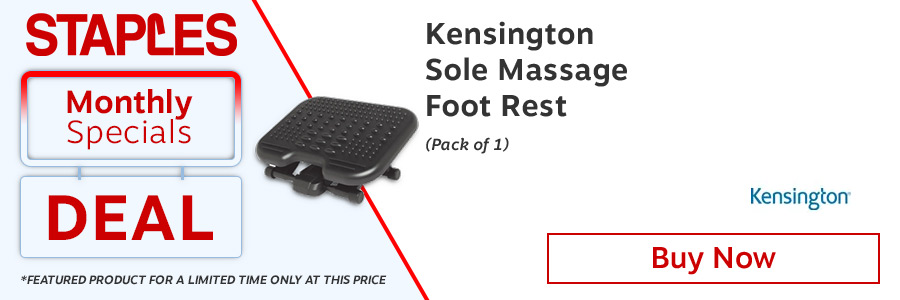 Kensington SoleMassage Footrest Black 56155EU. Gentle rocking mechanism allows you to exercise your ankles while you sit helping to improve circulation. With 5 height settings. Non-slip surface.<TAG>Only</TAG>