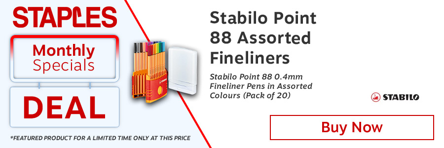 Stabilo Point 88 fineliner pens. Hexagonal fineliner with metal encased tip for long life. Suitable for rulers and stencils. Water based ink. Does not dry out quickly. Ventilated cap. Pack of 20 assorted colours.<TAG>Only</TAG>