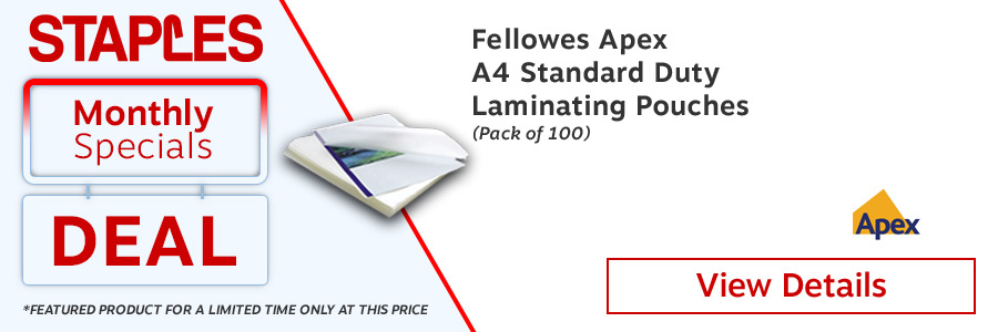 Fellowes Apex A4 Laminating Pouches Clear (Pack of 100) <TAG>ONLY</TAG>