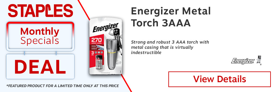 Energizer Value Small Metal 3AAA Torch. 6 white LEDs. 8hrs of light with Energizer Max batteries. Sturdy Aluminium Construction.