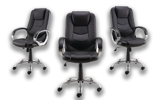 Darcy Bonded Leather/PVC Chrome Frame Black Executive chair Product Image