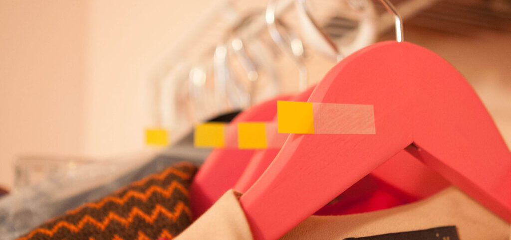 sticky labels on hangers
